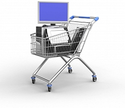 Computer equipment in shopping cart